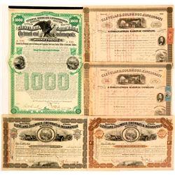 Cleveland, Columbus, Cincinnati & Indianapolis Railway Stocks and Bonds (5)  (111093)