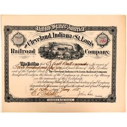 Cleveland, Indiana & St. Louis Railroad Company Stock Certificate, 1885  (111088)