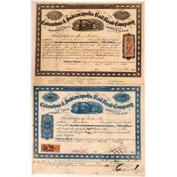 Columbus & Indianapolis Rail Road Common & Preferred Stocks, 1864  (111091)