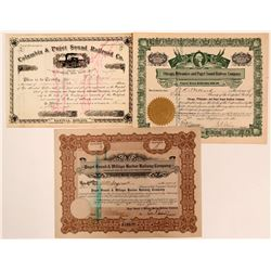 Puget Sound Railroad Stock Certificates  (117219)