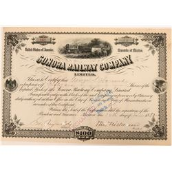 Stock certificate in the Sonora Railway Company  (110534)
