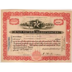 Star Motors Stock Certificate with vignette of 'Star' in front of manufacturing plant.  (119401)