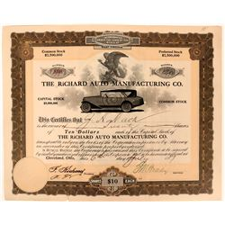 Richard Auto Manufacturing Co. Stock signed by Richard with beautiful vignette