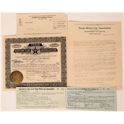 Texas Motor Car Association Stock Certificate & Ephemera  (113238)