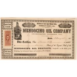 Early California Oil Stock Certificate, 1865  (119397)