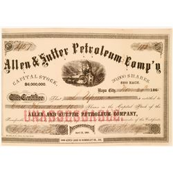Allen & Sutter Petroleum Comp's stock - very early California Oil Stock  (119398)