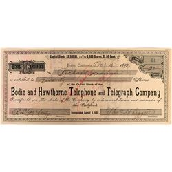Bodie, California, Ghost Town, Telephone and Telegraph Stock Certificate  (118048)