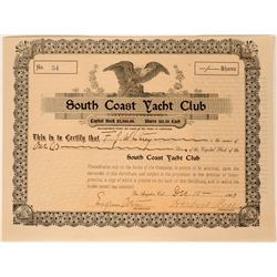 South Coast Yacht Club Stock Certificate, Los Angeles, 1903  (111757)