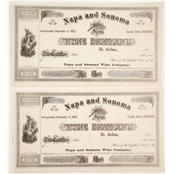 Napa and Sonoma Wine Company Stock Certificates (2 count)  (61760)