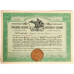 Pacific Coast Jockey Club Stock Certificate, Horse Racing, San Francisco  (111755)