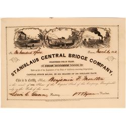 Stanislaus Central Bridge Company Stock Certificate (Gold Rush with Great Vignette!)  (119399)