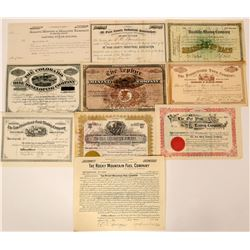 Ten Different Colorado Stock Certificates Mining Industrial Fuel Etc.  (117362)