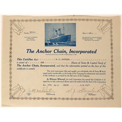 The Anchor Chain Inc. Stock Certificate, Ocean Liner With Anchors in Each Corner  (111756)