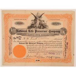 National Life Preserver Company Stock Certificate, WWI U Boat Rescue  (111951)