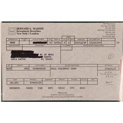 Bernard Madoff Investment Securities Stock Confirmation Slip- Market Fraudster  (111960)