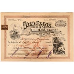 Wild Goose Mining & Trading Co Stock, Alaska, Signed by Charles D. Lane, Nome Founder  (111783)
