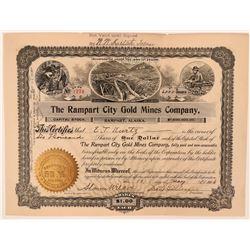 Rampart City Gold Mines Stock Certificate, Alaska, 1906  (111954)