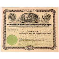 Yukon-Klondike and Tanana Valley Mining & Dev. Co Stock Certificate, 1898  (111802)