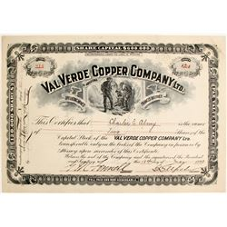 Val Verde Copper Company Ltd. Stock Certificate  (62963)