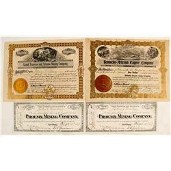 Cave Creek District Stock Certificates (4 count)  (62948)
