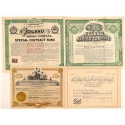 Poland, Arizona Mining Stock Certificates (4)  (106923)