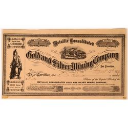 Metallic Consolidated Gold and Silver Mining Co. Stock #1  (117551)