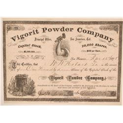 Vigorit Powder Stock Certificate, California Dynamite, 1878  (111978)