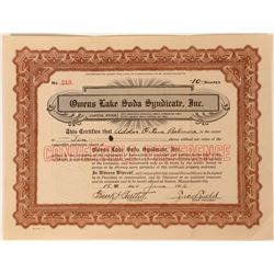 Owens Lake Soda Syndicate Stock Certificate, Inyo County, Cal. 1926  (111762)