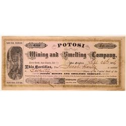 Potosi Mining & Smelting Co Stock, Cerro Gordo, Inyo County, 1876  (111781)