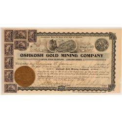 Oshkosh Gold Mining Stock Certificate, Randsburg, Cal. 1902  (111977)
