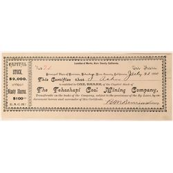 Tehachapi Coal Mining Co Stock Certificate, 1890, Unseen by Us!  (111815)