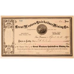 Great Western Quicksilver Mining Company Stock Certificate  (113264)