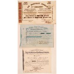 Three California Gold Rush Mining Stock Certificates  (110950)