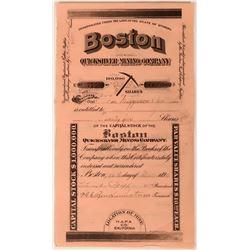 Boston Quicksilver Mining Co Stock, Napa County, California, 1899  (111776)