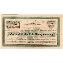 Twelve- Mile Bar Gold Mining Stock, Plumas County, Cal. 1900  (111797)