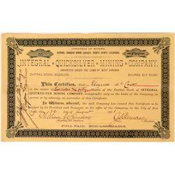 Integral Quicksilver Mining Co Stock, Altoona, Cinnabar District, Trinity Co. Cal. 1891  (111765)