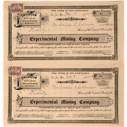 Experimental Mining Co Stocks (2), Yankee Hill, Tuolumne, Cal. 1899  (111832)