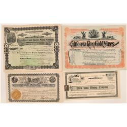 Four 1900ish Mining Stocks from Death Valley, San Bernardino, & more (119415)