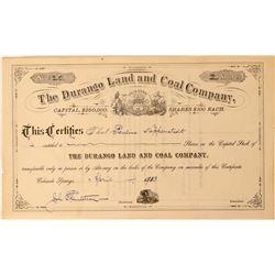 Durango Land & Coal Co Stock, Colorado, 1913  (111766)
