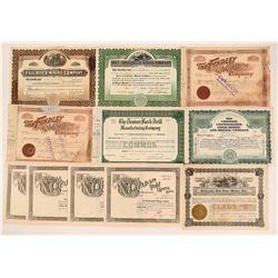 Colorado Mining Stock Certificate Group (10)  (111966)