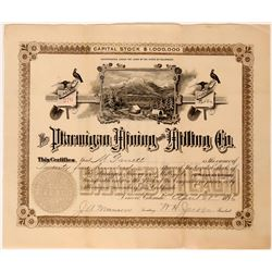 Ptarmigan Mining & Milling Co Stock Certificate, Denver, CO. 1896  (111810)