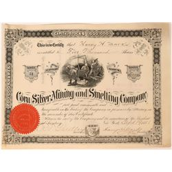 Cora Silver Mining and Smelting Co Stock, Dakota Territory, 1881  (111785)