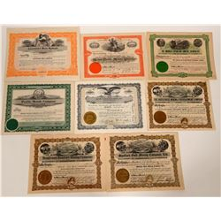 Eight Different Boise, Idaho Mining Stock Certificates  (107469)