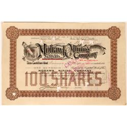 Mohawk Mining Co Stock, Michigan, 1906, Brown, 100 Shares, Rare  (111752)