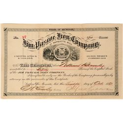 Jim Pascoe Iron Company of Marquette, Michigan Stock Certificate, 1881  (111764)