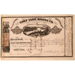Carp Lake Mining Co Stock Certificate, Ontonagon, Michigan 1863   (111786)