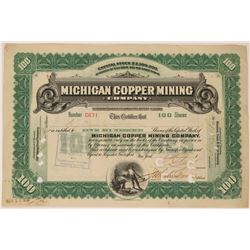 Michigan Copper Mining Co Stock, 1907, 100 Shares, Green  (111753)