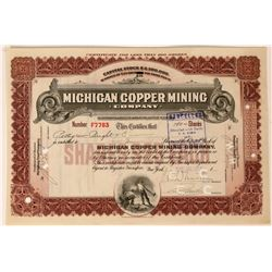 Michigan Copper Mining Co Stock, 1915, Brown, 10 Shares  (111754)