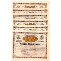 Six Penn Yan Mining Company Stock Certificates  (117187)