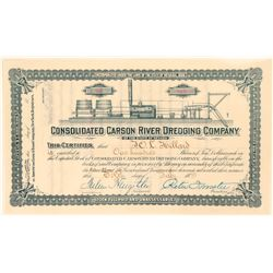 Cons. Carson River Dredging Stock With Dredger Vignette, Very Rare, 1888  (111933)